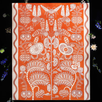 Thumb_bees_rug_orange