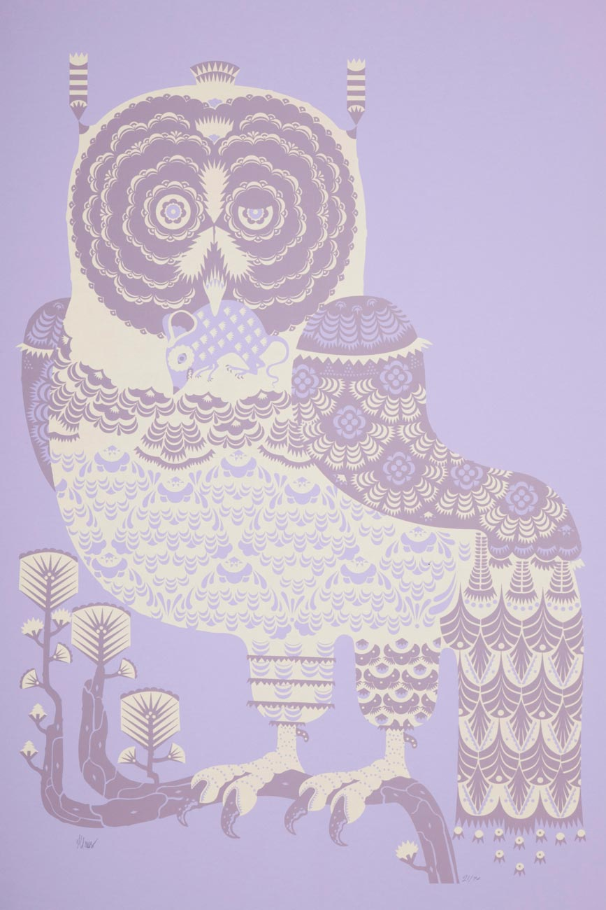 owl with mouse in beak illustration